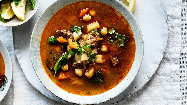 Spicy lamb & vegetable soup with chickpeas
