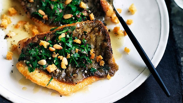 Pan-fried john dory with parsley, garlic & pine nuts