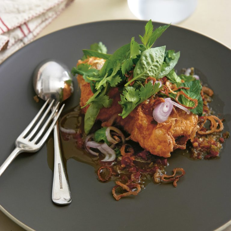 Neil Perry's Easy Weekend recipe: Fried eggs with spicy tamarind dressing.