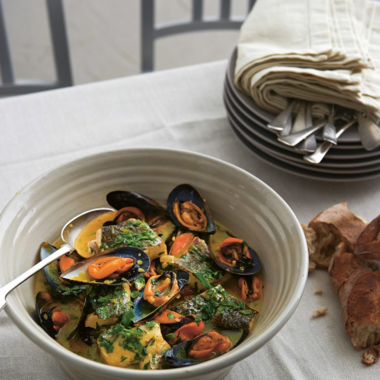 Jewfish, mussel & saffron stew