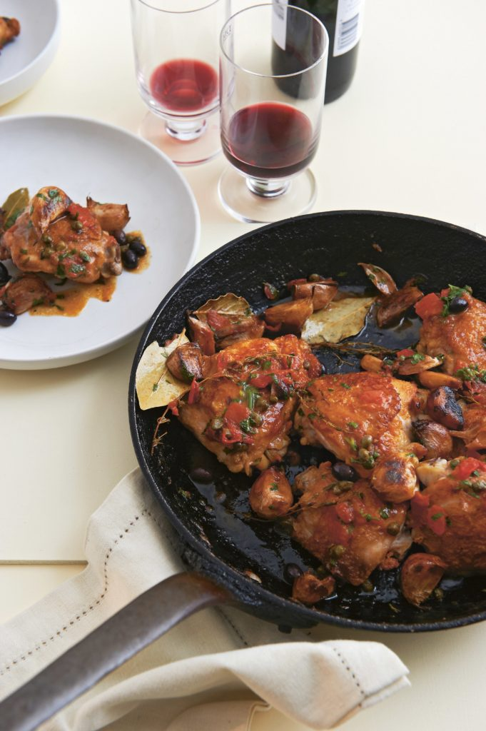 Sauté of chicken, garlic, olives & capers