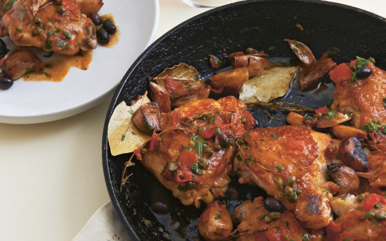 Neil Perry's Easy Weekend recipe: Sauté of chicken, garlic, olives & capers.