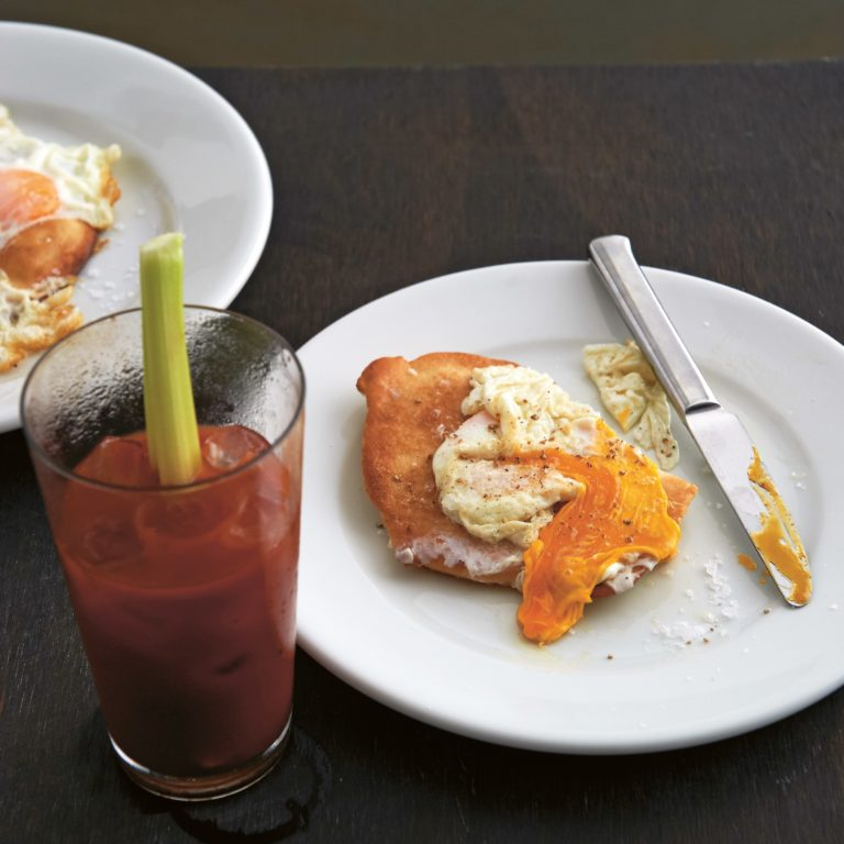 Bloody mary & fried pizza with egg