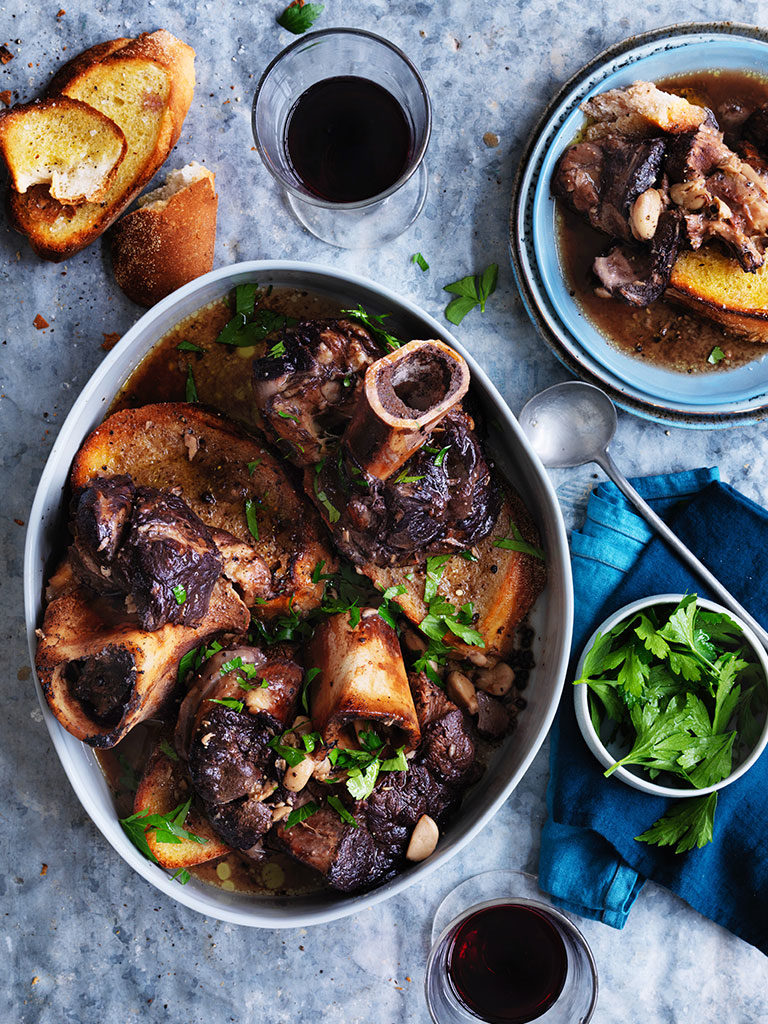 Veal shank slow cooked in wine