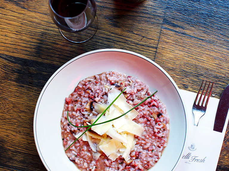 Risotto with Primitivo red wine and Italian sausage