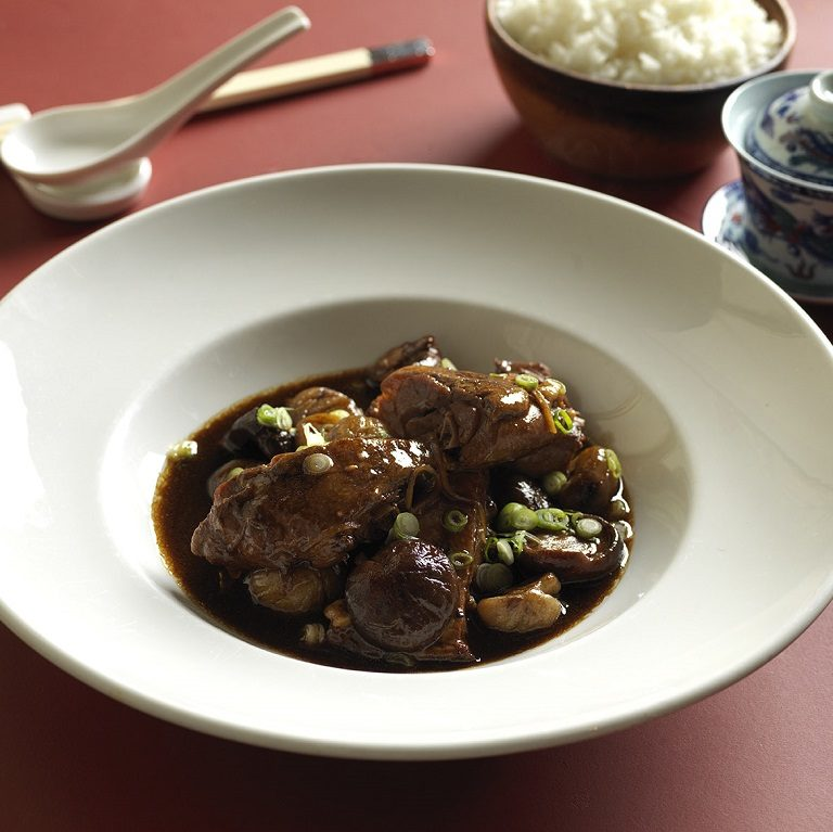 Braised duck leg with chestnuts