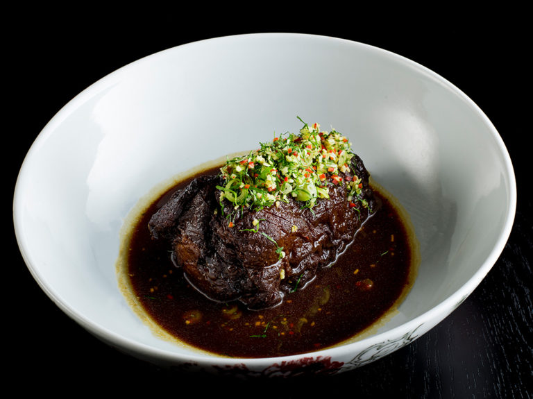 Red braised pork hock with chilli, ginger and black vinegar