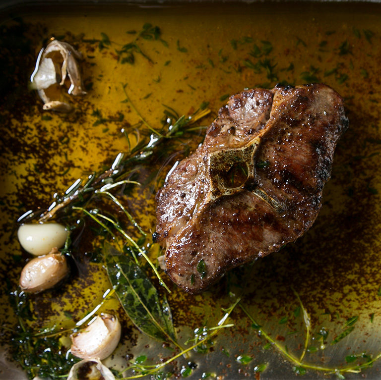 Grilled Barnsley lamb chops with rosemary burnt butter
