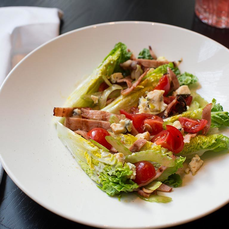 Baby Cos Salad with Walnuts, Bacon, Tomato, and Roquefort Dressing