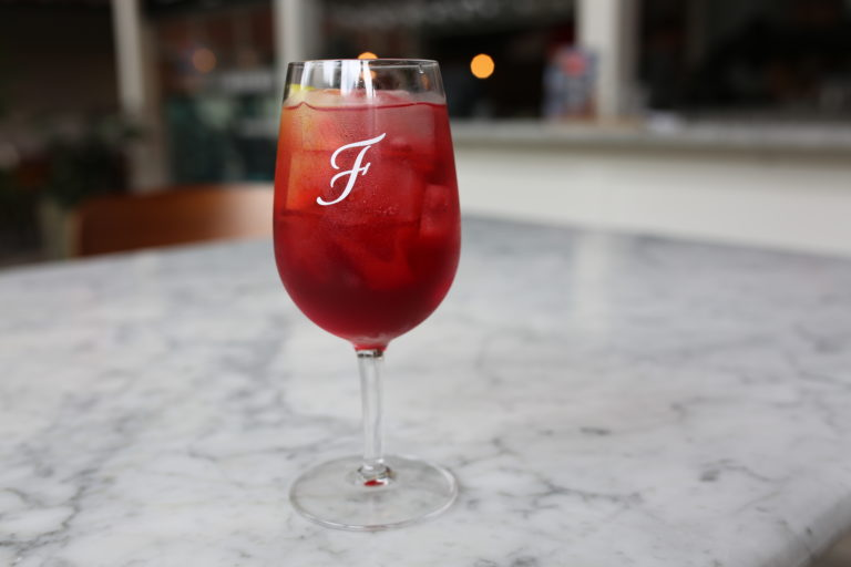 Elderflower and pomegranate spritz
