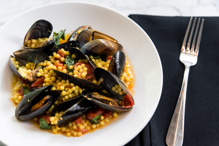 Fregola Sarda with mussels and saffron