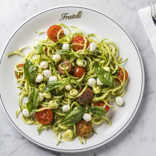Fratelli Fresh zoodles with cherry tomatoes, bocconcini & pesto