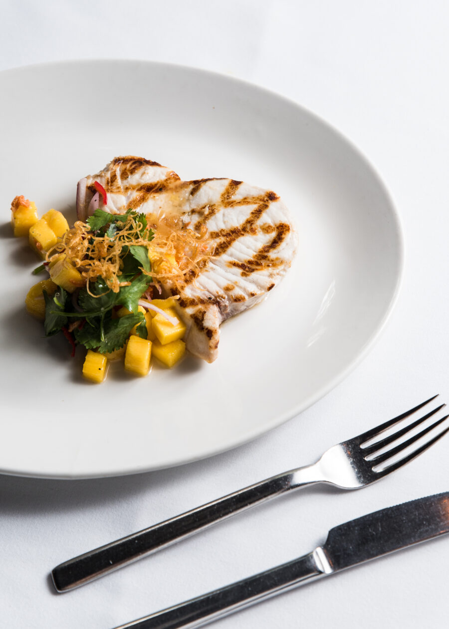 summer seafood recipe grilled swordfish with spicy mango salsa